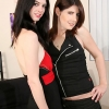 Amy Daly and Mandy Mitchell get warmed up before their T-girl threesome pretty pary!